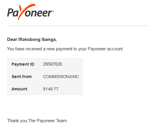 commission junction payment via Payoneer