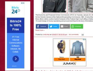 Google AdSense display on LindaIkejisblog